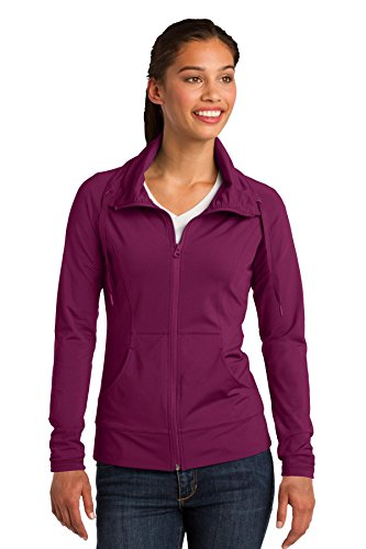 Sport-Tek LST852 Women's Sport-Wick Stretch Full-Zip Jacket, Pink Rush, Large - Full Hoody Zip Rush