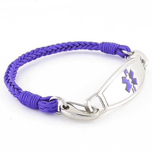 Braided Medical Alert ID Bracelet - Custom Engraving Included -Fun, Modern & Casual - - Emergency Kids Grape