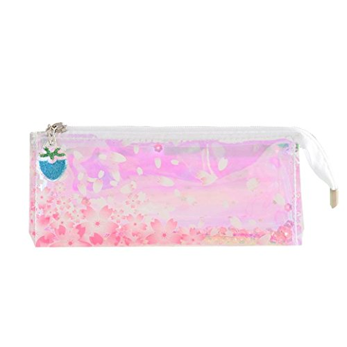 9dc501662b KFSO Transparent Pencil Pen Case,Colorful Sequin Clear Zipper Pencil Bag  Love Letter Printing Travel Cosmetic Makeup Bag Coin Purse (C)