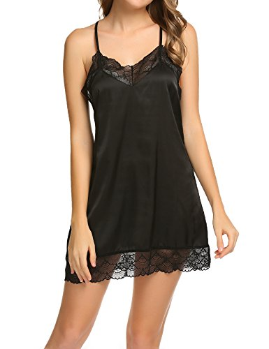 Black Satin Nightgown (Ekouaer Sexy Lace Chemise Nightgown Strappy Satin Sleepwear For Women,XX-Large,Black 3)