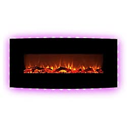 """FLAME&SHADE Electric Fireplace Heater Free Standing or Wall Mounted 10 LED Flame Backlight Colors Curved Panel with Remote Black 22"""" by FLAME&SHADE"""