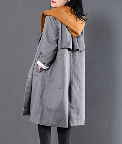 Lined Yesno WJ9 Jacket Gray Women Hoodie Double Trench Cotton Wj9 Breasted Color Casual Detachable Outwear Contrast Loose qzTqB