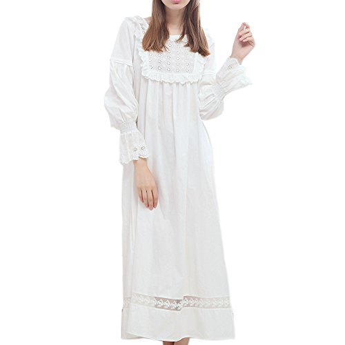 (Singingqueen Women White Cotton Nightgown Pajamas Long Sleeve Nightdress Babydoll Sleepwear Victorian Loungewear (White, Medium))
