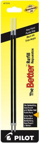 Pilot Ballpoint Ink Refills, 2-Pack for Better or EasyTouch Stick Pens, Fine Point, Black Ink (77215)