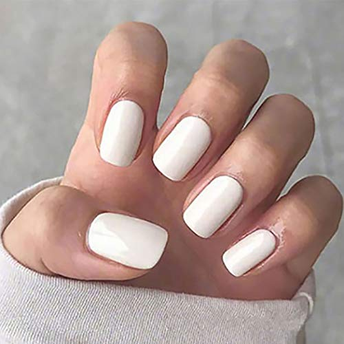 Harosy Glossy Fake Nails White Short Press on Nails Square Full Cover Artificial False Nails for Women and Girls 24 Pcs