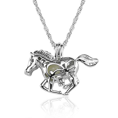 Lcbulu Galaxy Crescent Moon Pendant Necklaces Jewelry for Women Teen Girls 18 (Horse)