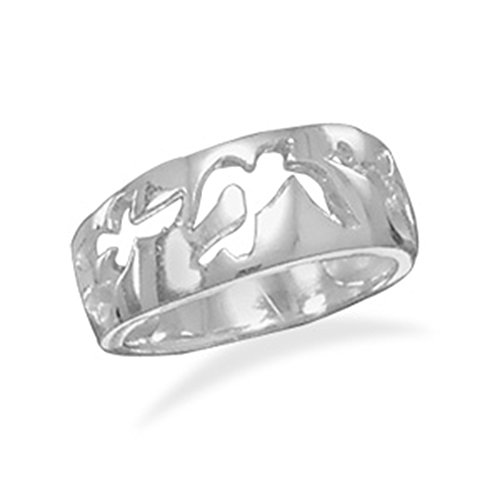 Peace Dove Design Cut Out Polished Band Ring Sterling Silver -