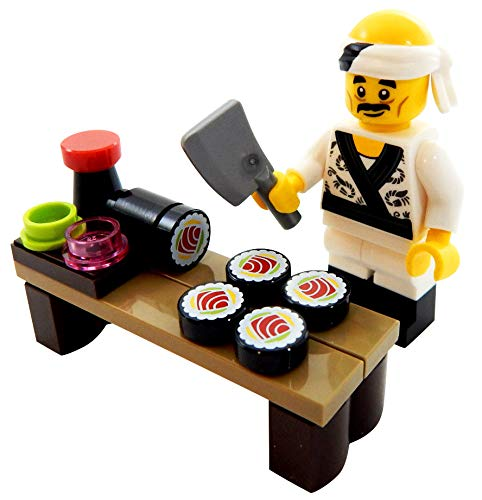 (LEGO Sushi Chef with Sushi Roll and More Toy - Custom Itamae Minifigure)
