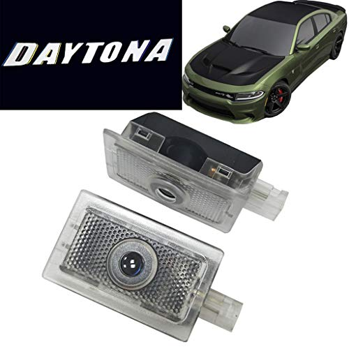 HNZJ 2x Cree LED Door Projector Light for Dodge Charger 06-19 Daytona Logo Pure White