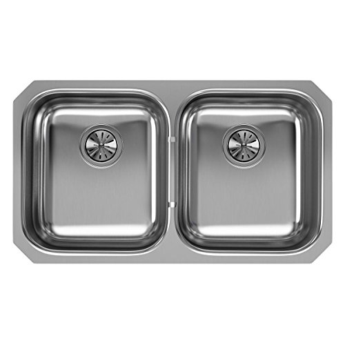 Elkay EGUH3118 Equal Double Bowl Undermount Stainless Steel Kitchen Sink (Undermount Double Bowl Gourmet)