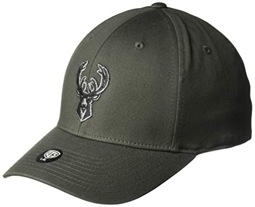 OTS NBA Adult Men's Comer Center Stretch Fit Hat Milwaukee Bucks, One Size, Charcoal ()