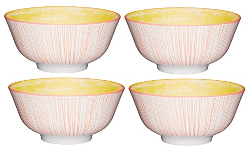 Kitchen Craft Footed Swirl/Stripe-Patterned Ceramic Bowls, 15.5 cm (6