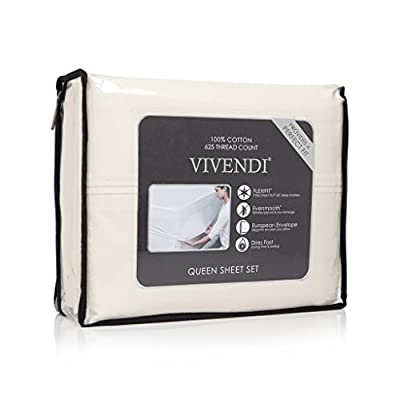 Vivendi 625 Thread Count 100% Cotton Wrinkle Resistent Flexifit Sheet Set