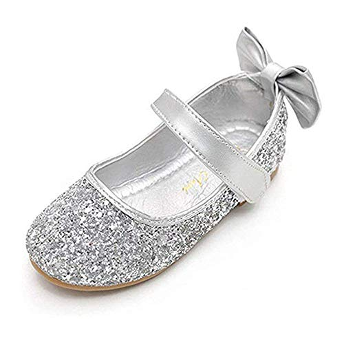 YING LAN Girl Round-Toe Sparkle Bowknot Ballet Ballerina Flat Shoes Silver ()
