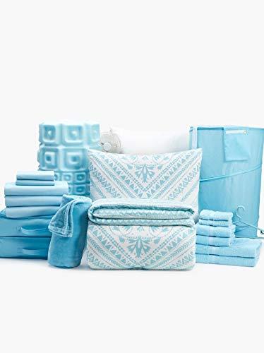- College Dorm Room Bedding & Essentials Value Bundle - 39 Piece Twin XL (Daydream-Light Blue)