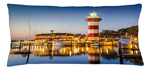 Ambesonne United States Throw Pillow Cushion Cover, Hilton Head South Carolina Lighthouse Twilight Water Reflection Boats Idyllic, Decorative Accent Pillow Case, 36 X 16 Inches, Multicolor