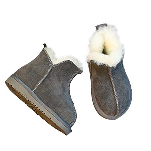 Hzjundasi Baby Schuhe Kinder Junge Mädchen Kind Anti-Rutsch Leder Schneestiefel Erstes Gehen Winter Schuh 2-6 Jahr Grau