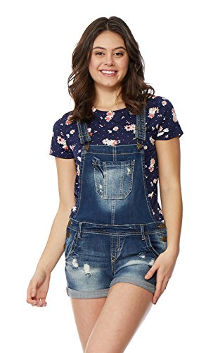 WallFlower Juniors Denim Shortalls in Ashlee Size: Medium (Jean Shorts For Teens)