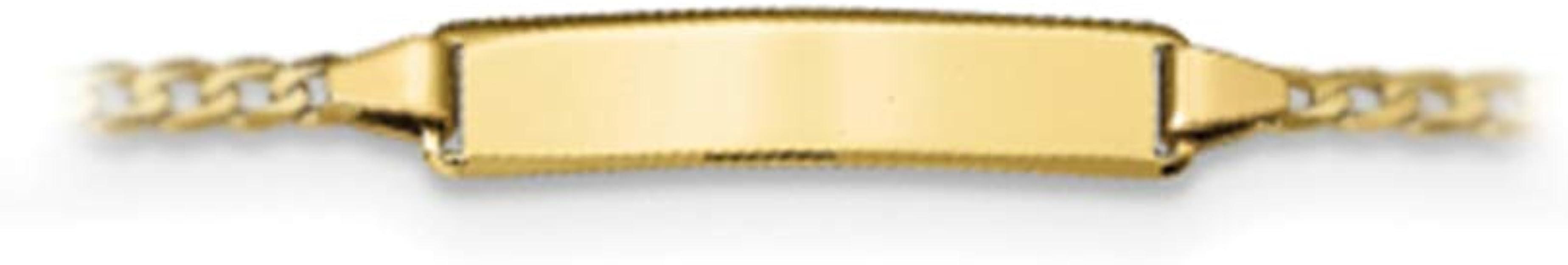Brilliant Bijou 10k Yellow Gold Semi-Solid Curb Link ID Bracelet 6 inches