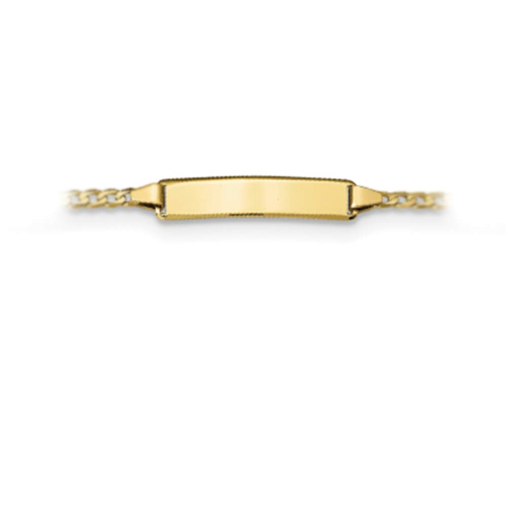 Brilliant Bijou 10K Yellow Gold Childrens Flat Curb Link Personalized ID Bracelet with Lobster Clasp