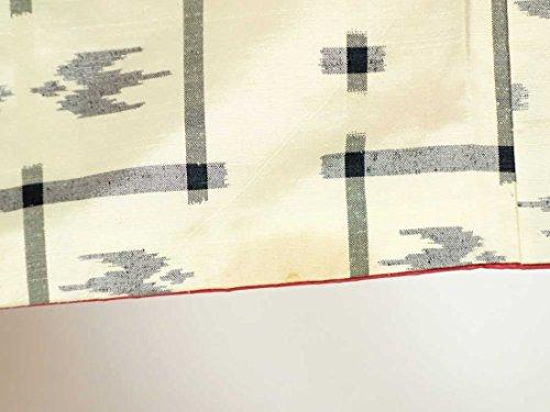 リサイクル紬 / 正絹白地琉球絣調袷紬着物 / レディース【裄Sサイズ】(中古紬着物 中古つむぎ リサイクル着物)【ランクB】