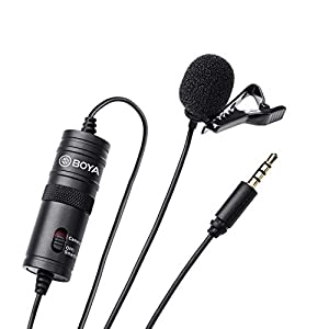 BOYA BY-M1 3.5mm Lavalier Condenser Microphone – with AriMic Windscreen Windshield for Smartphones Dslr Recorder Camcorders