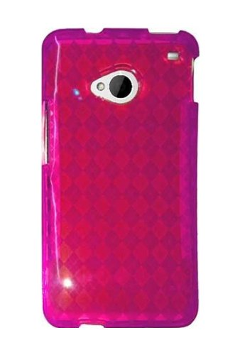 UPC 849599019099, HHI Slim Fit Flexible Jelly Rubber Case for HTC One (M7) - Hot Pink Checker (Package include a HandHelditems Sketch Stylus Pen)