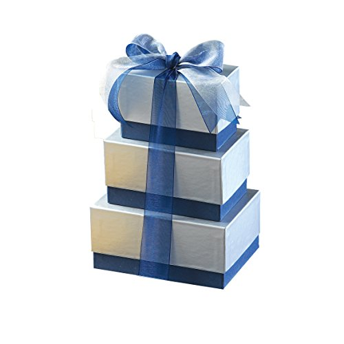 Broadway Basketeers Blue Silver Happy Birthday Chocolate Gift Tower