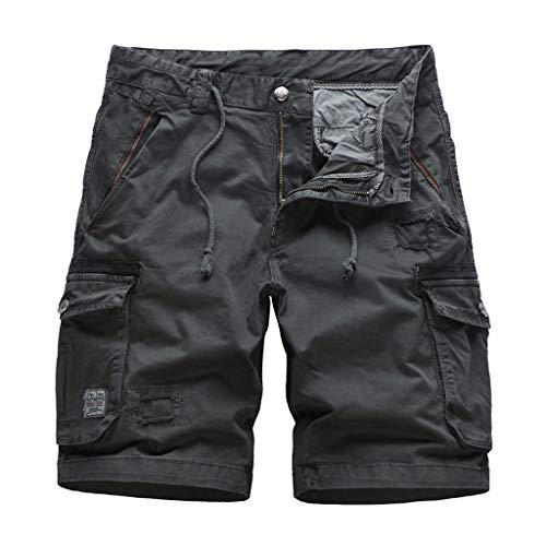 (DONTAL Tactical Trousers Men Cool Summer Cotton Short Pants Camo Clothing Cargo Shorts Dark Gray)