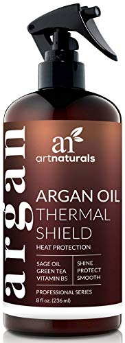 ArtNaturals Thermal Hair Protector Spray - (8 Fl Oz / 236ml) - Heat Protectant Spray against Flat Iron Heat - Argan Oil Preventing Damage, Breakage and Split Ends - Sulfate Free (Blonde To Black Hair Before And After)