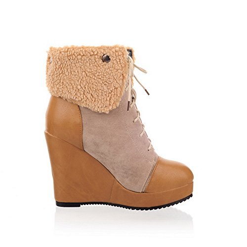 US with Assorted 5 5 Toe Heels B AmoonyFashion Platform M Closed Apricot Colors and Womens High Round PU Wedge Boots xCZHqv