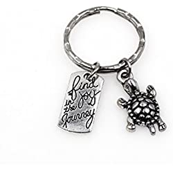 """""""Find Joy in The Journey"""" With Turtle Charm Keychain Inspirational Graduation Wedding Party Favor Gift."""