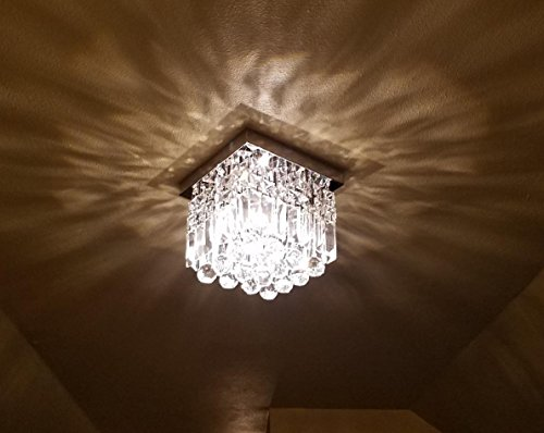 Moooni Hallway Crystal Chandelier 1 - Light W8'' Mini Modern Square Flush Mount Ceiling Light Fixture by Moooni (Image #4)