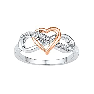 Amazon.com: 10kt White Gold Womens Round Diamond Rose-tone Heart