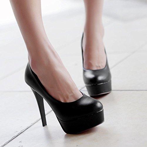 Bedel Voet Dames Chic Platform Stiletto Ronde Neus Jurk Schoenen Zwart