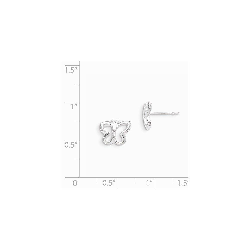 Solid .925 Sterling Silver Butterfly Post Earrings 9x10mm
