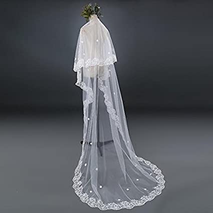 Lydia Bride Wedding Veil Lace Long mop The Cathedral Veil + Comb, Ivory, 1.5m