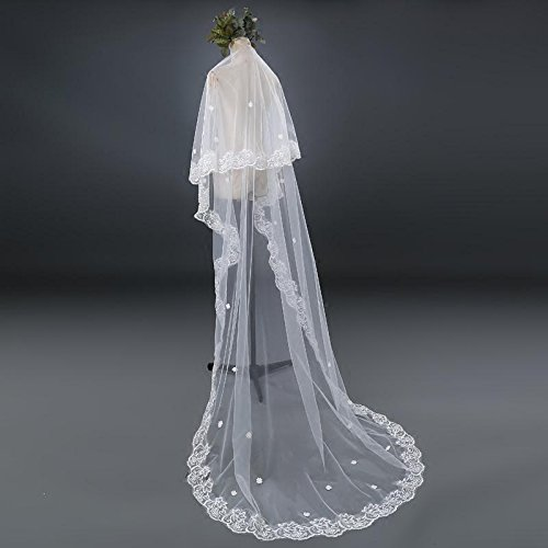 Lydia Bride wedding veil lace long mop the cathedral veil + comb, , ivory , 2m