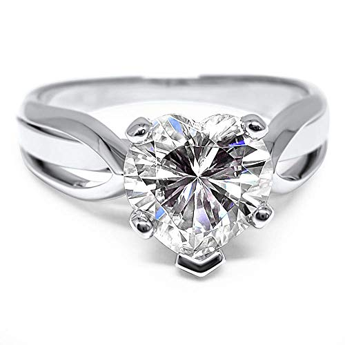 Heart shaped Forever ONE Moissanite solitaire engagement ring cathedral setting 14k White Gold