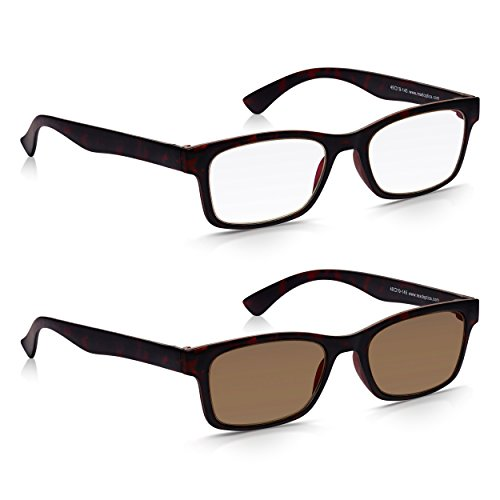 Read Optics x2 Unidades: Gafas de Lectura Vista + de Sol de Presbiopía con Lentes Tintadas para Hombre/Mujer – Marco Completo Marrón Tortoise - 100% ...