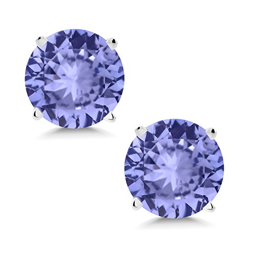 Aaa Tanzanite Jewelry - 14K White Gold Natural Genuine Blue Tanzanite Earrings 1.80 Ct Gemstone Birthstone Stud 6MM Round