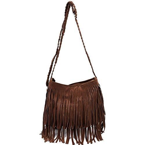 Donne borsa - TOOGOO(R) Fringe Tassel pelle scamosciata del Faux Tracolla Messenger Donne borsa Marrone