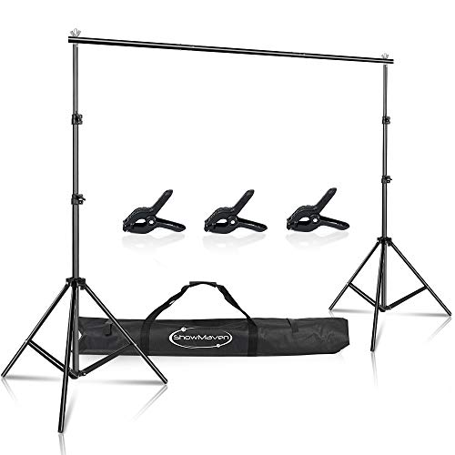 ShowMaven Background Stand, 6.5ftx10ft Adjustable Photo Backdrop Stand with Carry Bag for Photography Photo Video Studio, Photography Studio, Birthday Party