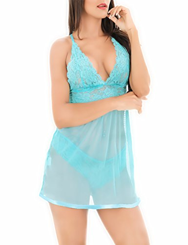 PARTY LADY Women's Chemises Sexy Halter Lace Babydoll Lingerie Sets Open Back Size XXL Green (Doll Underwire Baby Open Back)