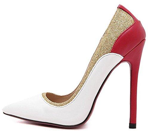 Easemax - Elegante Stiletto Da Donna A Blocchi Di Colore Con Punta A Punta E Scarpe Con Tacco Alto, Scarpe Bianche