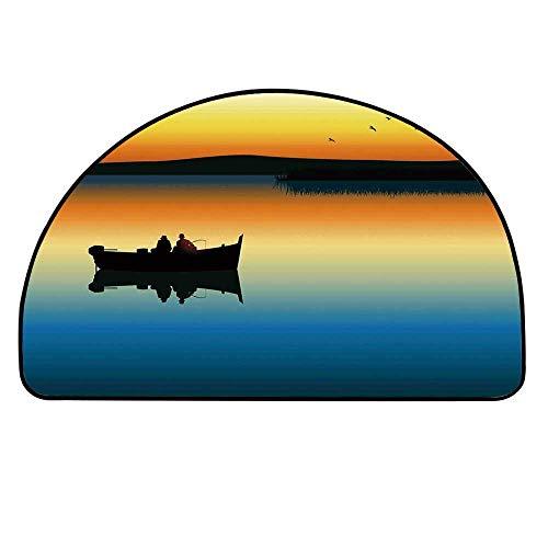 YOLIYANA Fishing Decor Doormat,Buddies on Tranquil Still Lake at Epic Sunset Fish Male Friends Home Decor Entryway Mat,15.7