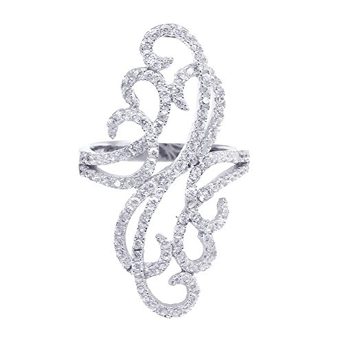 Filigree Art Deco Ring Round Pave Cubic Zirconia 925 Sterling ()