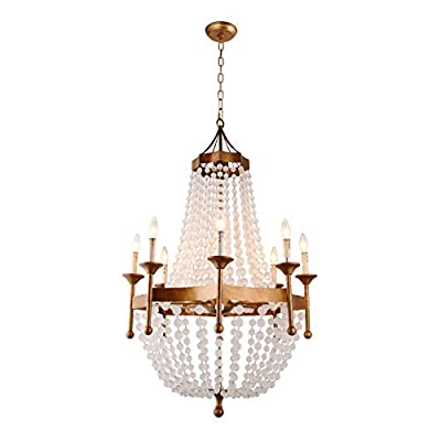 "Gold Golden Frame & Crystal Acrylic Beads Balls Pendant Chandelier Lamp 8 Lights H50"" X W32"" Large Fixture Rustic Iron"