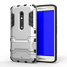 Moto X Play Case,Gift_Source TPU+Hard Case Dual Layer Armor Rugged Defender Protective Case With Built-in Kickstand For Motorola Moto X Play [Silver]
