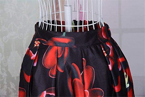 Vendimia De La Alta Cintura De La Flor Una Linea De Mujeres Impresas Dobladillo Midi Verano Faldas Plisadas Negro